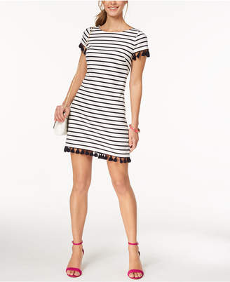Jessica Howard Petite Striped Tassel Sheath Dress