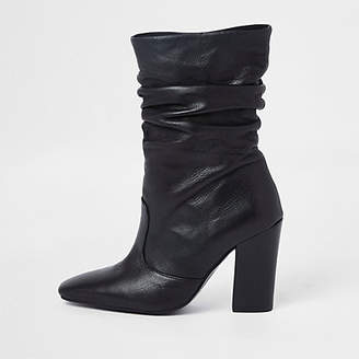 River Island Black leather slouch boots