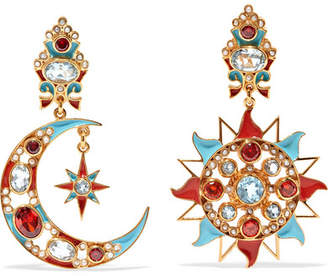 Papi Percossi Gold-plated And Enamel Multi-stone Clip Earrings - Turquoise