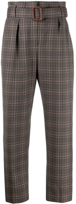 Brunello Cucinelli belted checked trousers