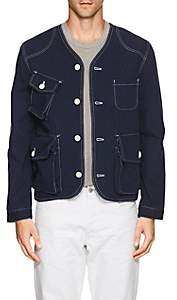 N. Max 'n Chester MAX 'N CHESTER MEN'S COTTON COLLARLESS JACKET-NAVY SIZE XL