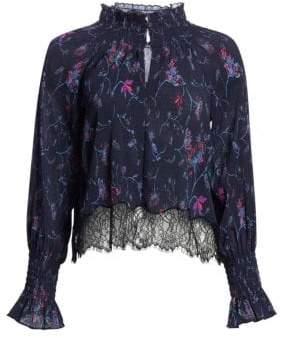 Tanya Taylor Nyssa Floral Vines Lace-Trim Blouse