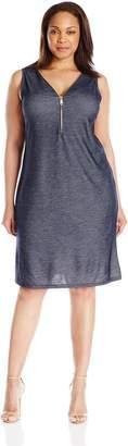 MSK Women's Plus-Size Knit Chambray Zipper Dress