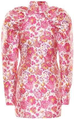 Rotate by Birger Christensen Floral puff-sleeve minidress