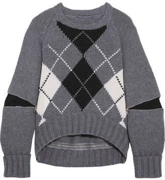 Alexander McQueen Oversized Zip-detailed Argyle Wool Sweater