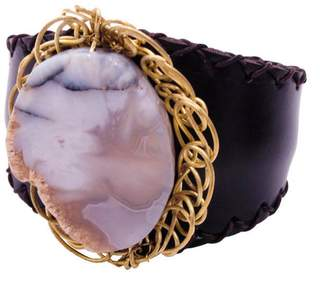 Nakamol Stone Leather Stitched Cuff Bracelet in Natural