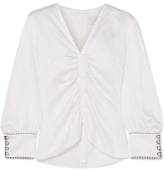 Peter Pilotto Ruched Satin Blouse - White