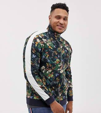 Asos DESIGN plus track jacket in retro fabric with floral print and side stripe