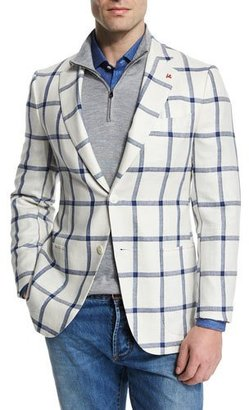 Isaia Windowpane Two-Button Silk-Blend Jacket, White/Blue $2,995 thestylecure.com