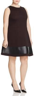 Love Ady Plus Faux Leather-Hem Dress