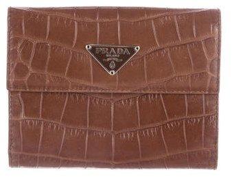 pradaPrada Crocodile Compact Wallet