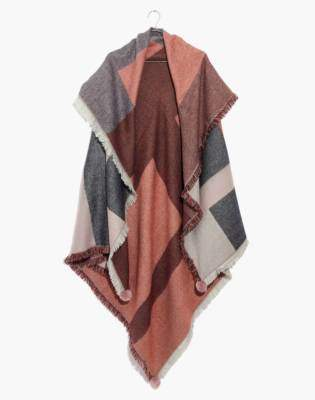 Madewell Plaid Pom-Pom Blanket Scarf