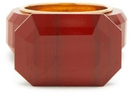 Bottega Veneta Faceted Jasper Gold Plated Ring - Womens - Red