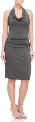 Nicole Miller Silver Glitz Cowl Dress