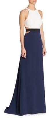 Halston Women's Colorblock Cutout Gown - Navy Chalk - Size 8
