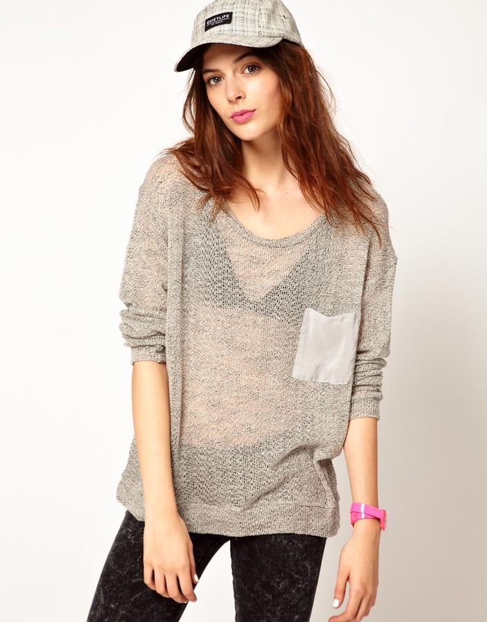 LnA Long Sleeve Knit With Contrast Pocket
