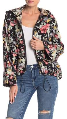 Blank NYC BLANKNYC Denim Floral Embroidery Front Zip Jacket