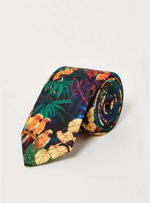 Topman Mens Black Jungle Print Tie