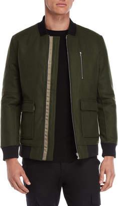 Arc Minute Olive Green Pocket Bomber Jacket
