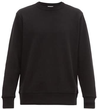 Zipped Back Logo Print Cotton Sweatshirt - Mens - Black