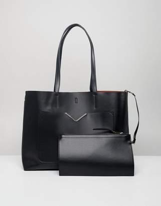Asos Design DESIGN hardware pocket shopper with removable clutch bag