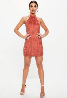 Missguided Orange Halterneck Faux Suede Studded Mini Dress