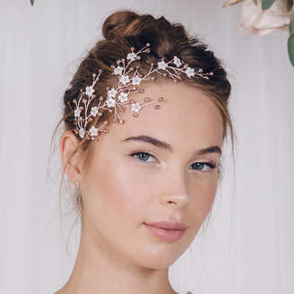 Carlisle Debbie Floral Gold Silver Or Rose Gold Bridal Headpiece Cherry
