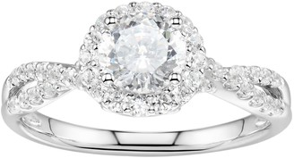 Swarovski Diamonluxe DiamonLuxe Sterling Silver 2 1/3 Carat T.W. Simulated Diamond Halo Ring