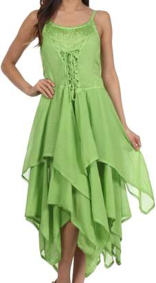 Sakkas 9031 Corset Style Bodice Jaquard Lightweight Handkerchief Hem Dress - OS