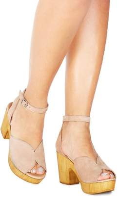 Faith - Nude Suede 'Demo' High Platform Heel Ankle Strap Sandals