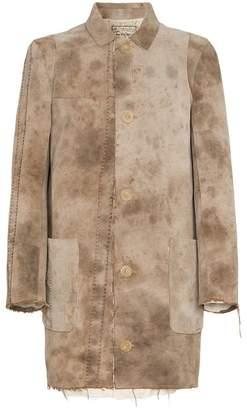 By Walid Malcom distressed and raw hem army jacket