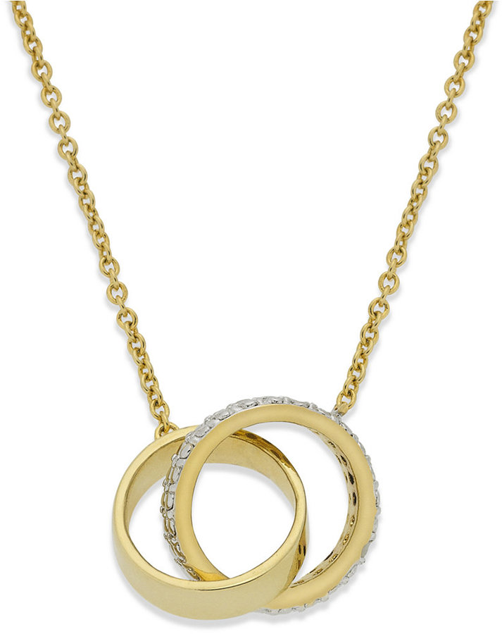Townsend Victoria 18k Gold over Sterling Silver Necklace, Diamond Accent Interlocking Ring Pendant