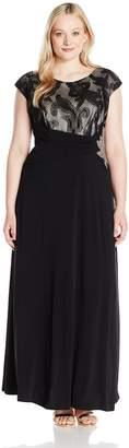 Sangria Women's Plus Size Short Sleeve Lace Gown, Black/Nude, 24W