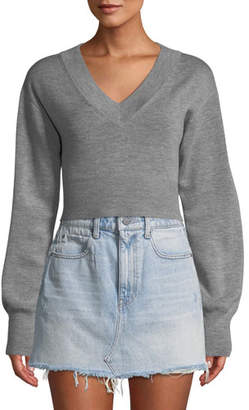 Alexander Wang Cropped Twist-Back Merino Sweater