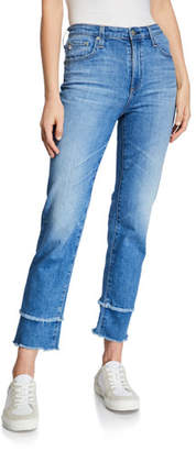 AG Jeans The Isabelle High-Rise Straight Crop Jeans with Tiered Hem
