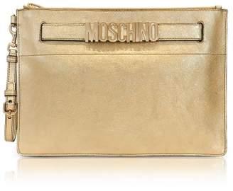 Moschino Gold Metallic Leather Clutch W/signature Logo