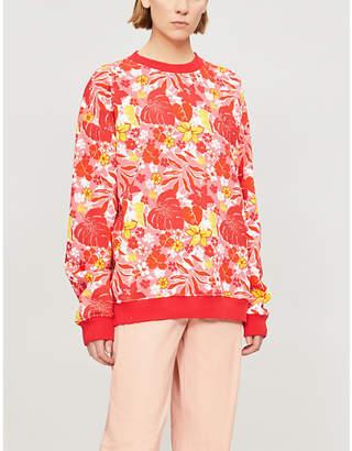 Benetton Tropical floral-print cotton-blend sweatshirt