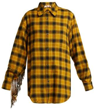 No.21 No. 21 - Sequinned Checked Cotton Shirt - Womens - Black Yellow
