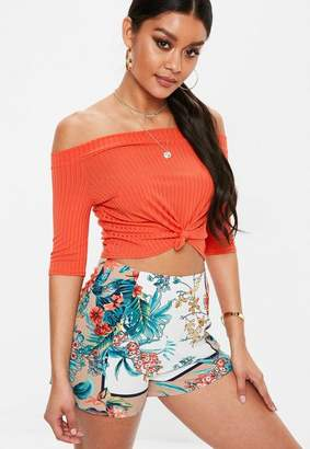 Missguided Red Bardot Knot Ribbed Crop Top