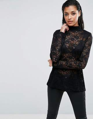 Asos Top In Lace With Shoulder Pad