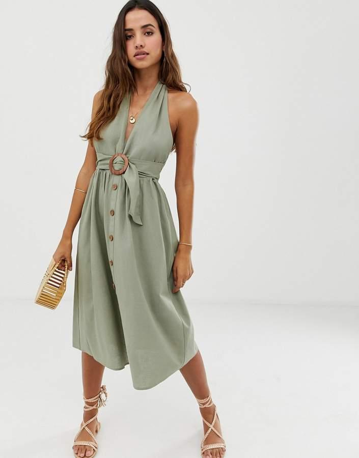 Asos Design DESIGN halter neck midi button through linen sundress with buckle