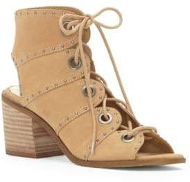 Jessica Simpson Leather Open Toe Lace-Up Sandals