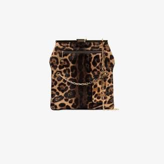 Bienen Davis brown PM leopard print clutch bag