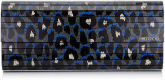 Jimmy Choo SWEETIE Pop Blue Mix Leopard Print Fine Glitter Acrylic Clutch Bag