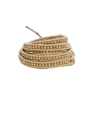 Chan Luu Gold Indian Bead on Natural Leather Wrap