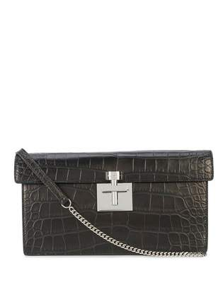 Oscar de la Renta Black Alligator Alibi Clutch