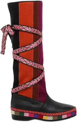 Etro 20mm Patchwork Felt & Leather Boots