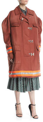 Calvin Klein Couture-Sleeve Clasp-Front Fireman Coat w/ Reflective Stripes