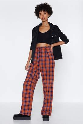Nasty Gal What in the Check Wide-Leg Pants