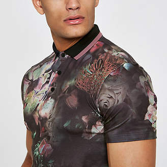River Island Black floral muscle fit polo shirt